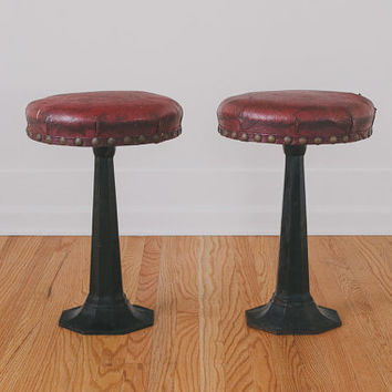 Set of Vintage Distressed Leather and Cast Iron Industrial Bar Stools