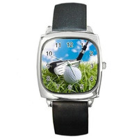 Golf (Club and Ball) on a Mens or Womens Silver Square Watch with Leather Bands