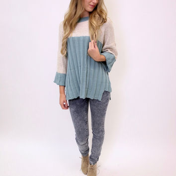 Seafoam Color Block Sweater