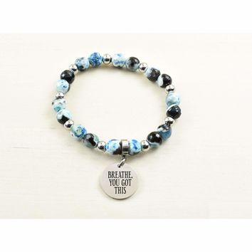 Genuine Agate Inspirational Bracelet - Blue - Breathe You Got This