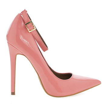 Leon Blush Patent By Shoe Republic, Women's High Heel Pump w/ Pointed Close Toe & Ankle Straps
