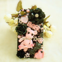 iphone 4 Case - iphone 4S Case Cover - cute baby bear iphone 4 cover ,black flower iphone 4 case