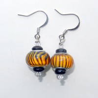 Orange and Black Stripped Glass Beaded Earrings