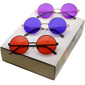 Retro Hippie Round Color Tone Metal Sunglasses 9892 [3 Pack]