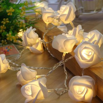 5 meter 40 rose garland with led light for wedding event party light decoration,floral light decortive, baby room night light
