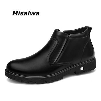 Misalwa 2018 Autumn Winter Men Snow Boots Plush Lining Warm Father's Gift Shoes Elastic Slip-on Zipper Men Casual Leather Boots