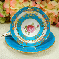 Royal Standard Bone China Porcelain Footed Cup & Saucer ~ Roses Turquoise Gold