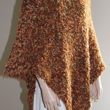Hand Knitting Women Poncho / Light Brown - Orange - Beige / Ready to Shipping / Extra Soft Poncho
