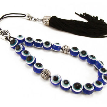 Blue Evil Eye Greek Worry Beads, Komboloi, Quality Metal Master Bead, Black Tassel