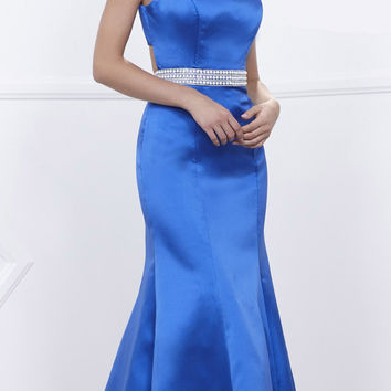 Royal Blue Satin Sleeveless Fit and Flare Prom Gown Embellished Waist