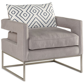 Beau Bevin Linen Accent Chair, Light Gray, Accent U0026 Occasional Chairs
