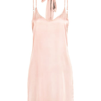Light Pink Plunge Choker Tie Satin Cami Strap Slip Dress