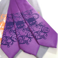 Mens necktie, Purple tie dark purple skull design - silk screen neck tie
