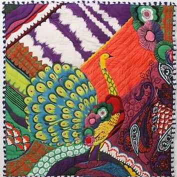 Anthropologie Colorful Dorm Bedding Twin Quilt Pavo Peacock With Sham