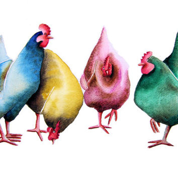 CHICKENS Signed Art  Print from an original watercolour painting by artist Maria Moss. Available in 4 sizes.