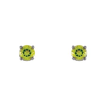 Kids 3mm Peridot Youth Threaded Post Earrings in 14k White Gold