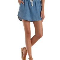 Lt Wash Denim High-Low Denim Dolphin Skirt by Charlotte Russe