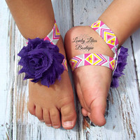 Baby Barefoot Sandals .. Purple Aztec .. Toddler Sandals .. Newborn Sandals .. Baby Flower Sandals