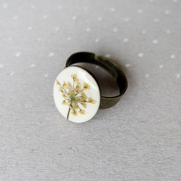 Pressed Queen Anne Lace flower oval Ring - handmade flower jewelry for nature lovers