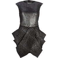 River Island Womens Black metallic croc print tulip dress