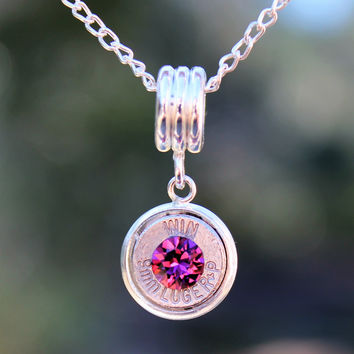 Amethyst Crystal 9mm Luger Bullet Necklace