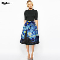 New 2017 Spring Style Vintage Skirt High Waist Work Wear Midi Skirts Womens Van Gogh painting clouds printing Jupe Femme Saias