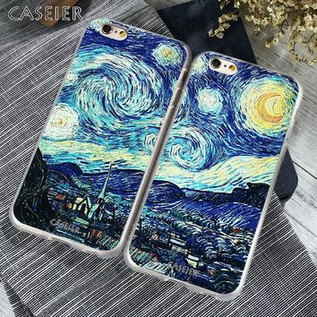 CASEIER Starry Night Silicone Case for iPhone 7 6 6S Plus 5s SE TPU Van Gogh Art Print Luxury Cover for iPhone 6 6s Accessories