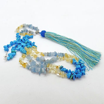 Aquamarine Citrine Turquoise Howlite Tassel Long Necklace Natural Stone Ocean Beach Jewelry