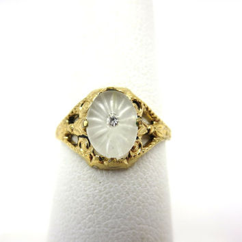 Antique Art Deco Ring - 10k Yellow Gold Camphor Glass Frosted