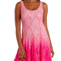 Med Pink Combo Ombre Lace Skater Dress by Charlotte Russe