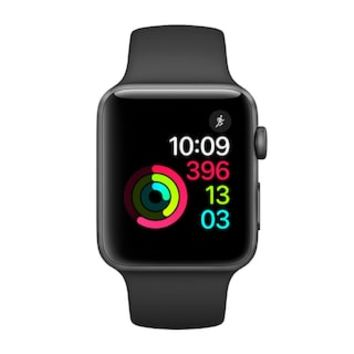 Apple Watch Series 2 (38mm with Space Gray Aluminum with Black Sport Band) | null