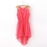 New Sequins Trim Water Melon Chiffon Chic Dress