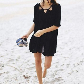 LMFGC3 Dailiwei Beach Cover Up Women Cotton Loose Swimsuit Cover Ups Summer Dress Robe De Plage Swimming Wear