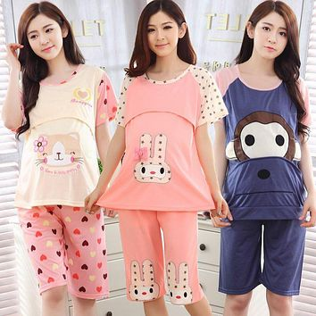 Summer Cute Cotton Maternity Clothes 2pcs Set(T-Shirts+Pants) Invisible Breastfeeding Mouth Clothes For Pregnant Women