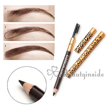 1 pcs Waterproof Eyebrow Pencil Makeup Leopard maquiagem 5 Colour Eyeshadow To Eyebrow Eyebrow Pencil With Brush