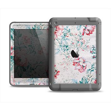 The Coral & Blue Grunge Watercolor Floral Apple iPad Mini LifeProof Fre Case Skin Set