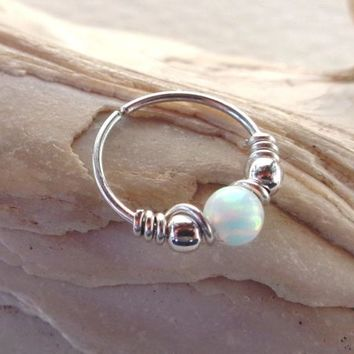 Seamless,Endless,Wrapped Fire Opal,Beaded Hoop,Ring Segment Hoop,Earring,Tragus | eBay