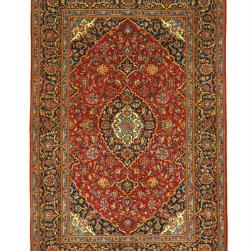 EORC Hand-knotted Wool Red Traditional Oriental Shadsar Kashan Rug