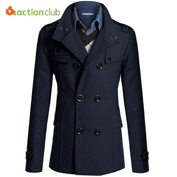 ACTIONCLUB Hot Sale Men Windbreaker Mens Trench Coat Men Coat Casual Jacket Brand Clothing Men's Jackets Plus Size