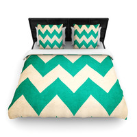"Catherine McDonald ""2013"" Teal Chevron Lightweight Duvet Cover"