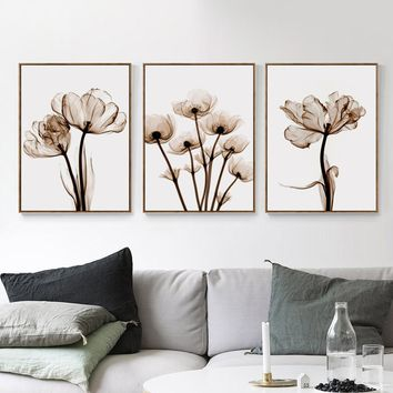 3pcs Transparent Flower A4 Print Art Canvas Poster Wall Photography Photographs Living Room Bedroom Decoration Painting No Frame