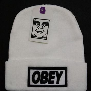 Obey Women Men Embroidery Beanies Knit Wool Hat Cap-26