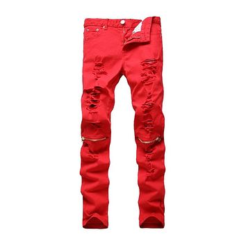ABOORUN 2016 New Mens Skinny Distressed Ripped Jeans Nightclubs Fashion Destroyed Knee Zipper Jeans Red Q2002