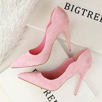 European Style Fashion Career Ol Thin With Pink Suede High-Heeled Shoes Shallow Mouth Pointed Toe High Heels Pumps