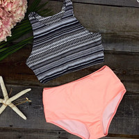 Sexy Tank Top and Orange Bottom Bikini Set Beach Swimsuit +Free Summer Gift -Random Necklace
