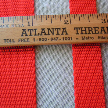 "5 Yards Bright Orange 100% Nylon Webbing, 3/4"" or 1"" wide. A lovely bright orange for totes, dog collars and so much more."