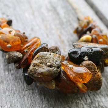 Raw huge Baltic Amber Eco Style Necklace Brown Statement Big Extra Large Earthy Colors Dark Russet Orange Black Chestnut Unpolished Amber