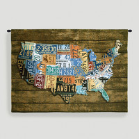 USA Wood Tags Tapestry Wall Hanging - World Market