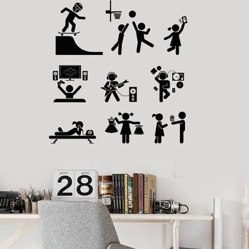 Vinyl Wall Decal Entertainment Zone Teen Room Art Stickers Unique Gift (481ig)