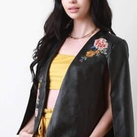Vegan Leather Embroidered Cape Blazer